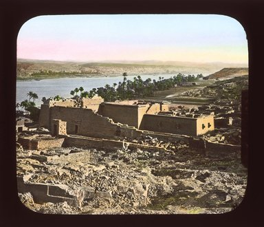 "<em>""Views, Objects: Egypt. General Views; People. View 081: The Temple, Kalabsheh, Nubia. Great Temple, Kalabshee, Nubia. A Thousand Miles up the Nile,W.W.""</em>, 1908. Lantern slide 3.25x4in, 3.25 x 4 in. Brooklyn Museum, lantern slides. (S10_08_Egypt_GeneralViews_People081_SL1.jpg"