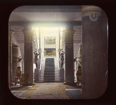 "<em>""Views, Objects: Egypt. General Views; People. View 082: Egypt - Shepherd's Hotel, the Hall, Cairo.""</em>. Lantern slide 3.25x4in, 3.25 x 4 in. Brooklyn Museum, lantern slides. (Photo: T. H. McAllister, New York, S10_08_Egypt_GeneralViews_People082_SL1.jpg"