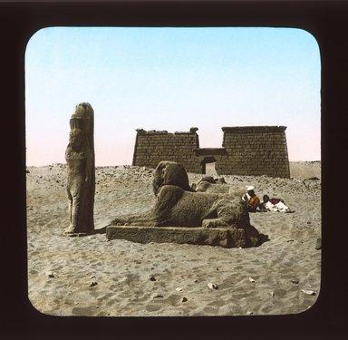 "<em>""Views, Objects: Egypt. General Views; People. View 084: Temple, Wadi Seboua.""</em>. Lantern slide 3.25x4in, 3.25 x 4 in. Brooklyn Museum, lantern slides. (Photo: J. Levy & Cie, Paris, S10_08_Egypt_GeneralViews_People084_SL1.jpg"