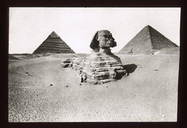 "<em>""Views, Objects: Egypt. Gizeh. View 01: Great Sphinx Before Clearance. Giza. 4th Dynasty.""</em>. Lantern slide 3.25x4in, 3.25 x 4 in. Brooklyn Museum, lantern slides. (S10_08_Egypt_Gizeh01_SL1.jpg"