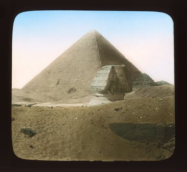 """<em>""""Views, Objects: Egypt. Gizeh. View 05: Sphinx and Pyramids.""""</em>. Lantern slide 3.25x4in, 3.25 x 4 in. Brooklyn Museum, lantern slides. (Photo: T. H. McAllister, New York, S10_08_Egypt_Gizeh05_SL1.jpg"""