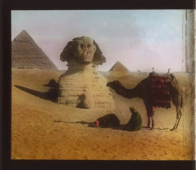 """<em>""""Views, Objects: Egypt. Gizeh. View 06: Sphinx and Pyramid.""""</em>. Lantern slide 3.25x4in, 3.25 x 4 in. Brooklyn Museum, lantern slides. (S10_08_Egypt_Gizeh06_SL1.jpg"""