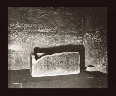 """<em>""""Views, Objects: Egypt. Gizeh. View 12: Egyptian - Old Kingdom. Pyramid of Kheops, Burial Chamber. Gizeh, 4th Dyn.""""</em>. Lantern slide 3.25x4in, 3.25 x 4 in. Brooklyn Museum, lantern slides. (S10_08_Egypt_Gizeh12_SL1.jpg"""