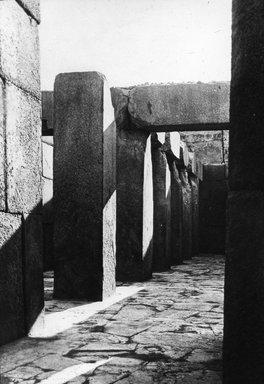 "<em>""Views, Objects: Egypt. Gizeh. View 14: Egyptian - Old Kingdom. Temple of Khepren. Gizeh, 4th Dyn.""</em>. Lantern slide 3.25x4in, 3.25 x 4 in. Brooklyn Museum, lantern slides. (S10_08_Egypt_Gizeh14.jpg"