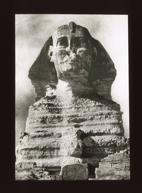 "<em>""Views, Objects: Egypt. Gizeh. View 15: Egyptian - Old Kingdom. Great Sphinx, Gizeh, 4th Dyn.""</em>. Lantern slide 3.25x4in, 3.25 x 4 in. Brooklyn Museum, lantern slides. (S10_08_Egypt_Gizeh15_SL1.jpg"
