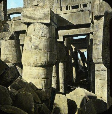 "<em>""Views, Objects: Egypt. Karnak. View 01: Egypt - Karnak, Great Hall.""</em>. Lantern slide 3.25x4in, 3.25 x 4 in. Brooklyn Museum, lantern slides. (S10_08_Egypt_Karnak01.jpg"