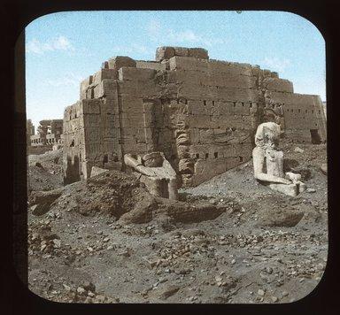 "<em>""Views, Objects: Egypt. Karnak.  View 03: Egypt - Karnak. Great Statues.""</em>. Lantern slide 3.25x4in, 3.25 x 4 in. Brooklyn Museum, lantern slides. (S10_08_Egypt_Karnak03_SL1.jpg"