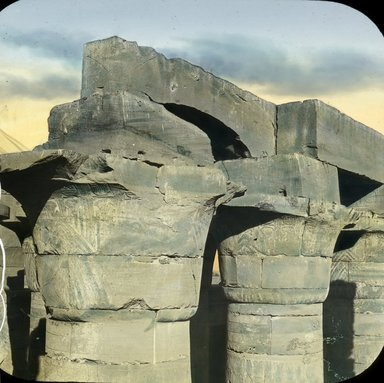 """<em>""""Views, Objects: Egypt. Karnak. View 04: Egypt - Karnak. Capitals in the Great Hall.""""</em>. Lantern slide 3.25x4in, 3.25 x 4 in. Brooklyn Museum, lantern slides. (S10_08_Egypt_Karnak04.jpg"""