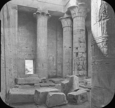 "<em>""Views, Objects: Egypt. Philae. View 02: Egypt - Philae. Temple of Isis. Columns.""</em>. Lantern slide 3.25x4in, 3.25 x 4 in. Brooklyn Museum, lantern slides. (S10_08_Egypt_Philae02.jpg"