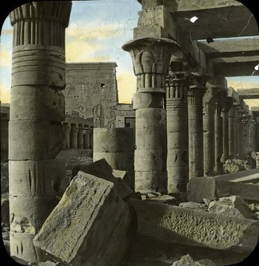 "<em>""Views, Objects: Egypt. Philae. View 04: Egypt - Philae. Columns.""</em>. Lantern slide 3.25x4in, 3.25 x 4 in. Brooklyn Museum, lantern slides. (Photo: J. Levy & Cie, Paris, S10_08_Egypt_Philae04.jpg"