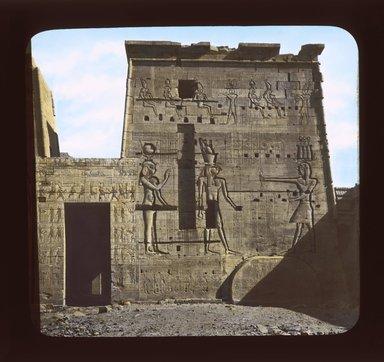 "<em>""Views, Objects: Egypt. Philae. View 05: Egypt - Philae. Pylon.""</em>. Lantern slide 3.25x4in, 3.25 x 4 in. Brooklyn Museum, lantern slides. (S10_08_Egypt_Philae05_SL1.jpg"