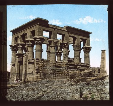 """<em>""""Views, Objects: Egypt. Philae. View 06: Egypt - Philae. Temple of Isis.""""</em>. Lantern slide 3.25x4in, 3.25 x 4 in. Brooklyn Museum, lantern slides. (S10_08_Egypt_Philae06_SL1.jpg"""
