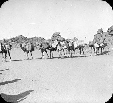 """<em>""""Views, Objects: Egypt. Philae. View 10: Desert road to Philae, Upper Egypt.""""</em>, 1908. Lantern slide 3.25x4in, 3.25 x 4 in. Brooklyn Museum, lantern slides. (Photo: Stereo-Travel Co., Corona, New York, S10_08_Egypt_Philae10.jpg"""