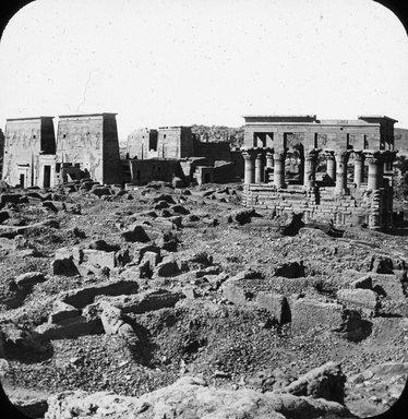 "<em>""Views, Objects: Egypt. Philae. View 11: les temples a Philae.""</em>. Lantern slide 3.25x4in, 3.25 x 4 in. Brooklyn Museum, lantern slides. (Photo: J. Levy & Cie, Paris, S10_08_Egypt_Philae11.jpg"