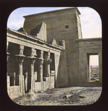 "<em>""Views, Objects: Egypt. Philae. View 12: Egypt - Philae. First court.""</em>. Lantern slide 3.25x4in, 3.25 x 4 in. Brooklyn Museum, lantern slides. (Photo: T. H. McAllister, New York, S10_08_Egypt_Philae12_SL1.jpg"