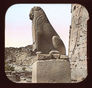 """<em>""""Views, Objects: Egypt. Philae. View 14: 9665. Egypt - Temple of Isis, Sphinx in front of South Pylon.""""</em>. Lantern slide 3.25x4in, 3.25 x 4 in. Brooklyn Museum, lantern slides. (Photo: T. H. McAllister, New York, S10_08_Egypt_Philae14_SL1.jpg"""