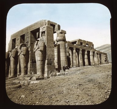 """<em>""""Views, Objects: Egypt. Thebes. View 01: Thebes: Ramesseum.""""</em>. Lantern slide 3.25x4in, 3.25 x 4 in. Brooklyn Museum, lantern slides. (S10_08_Egypt_Thebes01_SL1.jpg"""