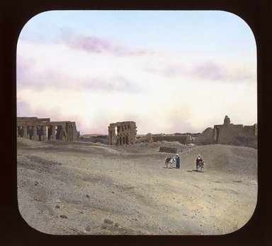 """<em>""""Views, Objects: Egypt. Thebes. View 02: The Ramesseum, general view. Thebes. 19 Dyn. Tomb Temple of Ramses, West of Thebes.""""</em>. Lantern slide 3.25x4in, 3.25 x 4 in. Brooklyn Museum, lantern slides. (S10_08_Egypt_Thebes02_SL1.jpg"""
