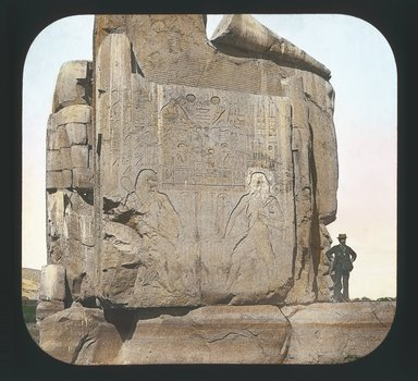 """<em>""""Views, Objects: Egypt. Thebes. View 03: Egypt - Northern Colossus (Base), Thebes.""""</em>. Lantern slide 3.25x4in, 3.25 x 4 in. Brooklyn Museum, lantern slides. (Photo: T. H. McAllister, New York, S10_08_Egypt_Thebes03_SL1.jpg"""