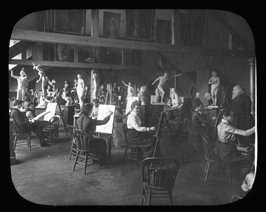 "<em>""Views: U.S., Brooklyn. Brooklyn, Adelphi College. View 005: Art Class, Adelphi College.""</em>. Lantern slide 3.25x4in, 3.25 x 4 in. Brooklyn Museum, CHART_2011. (Photo: MV Ross, S10_21_US_Brooklyn_Brooklyn_Adelphi_College005.jpg"