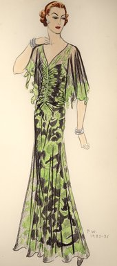 """<em>""""Henri Bendel Fashion and Costume Sketch Collection. Sketch 82-24, Fall Winter, 35a.""""</em>, 1935. Printed material. Brooklyn Museum. (SC01.1_Bendel_Collection_82-24_FW_35a.jpg"""