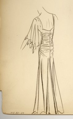 """<em>""""Henri Bendel Fashion and Costume Sketch Collection. Sketch 82-24, Fall Winter, 35b.""""</em>, 1935. Printed material. Brooklyn Museum. (SC01.1_Bendel_Collection_82-24_FW_35b.jpg"""