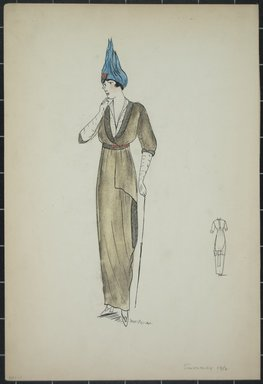 "<em>""Day dress, Summer 1912. Long olive green dress; elbow length sleeves; white v-neck blouse; white elbow length gloves; blue hat; back view included. (Bendel Collection, HB 001-01)""</em>, 1912. Fashion sketch, 12.25 x 8.5 in (31.1 x 21.6 cm). Brooklyn Museum, Fashion sketches. (Photo: Brooklyn Museum, SC01.1_Bendel_Collection_HB_001-01_1912_recto_PS5.jpg"