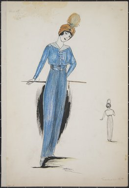 "<em>""Day dress, Cheriut, Summer 1912. Long blue dress with short blue jacket; jacket has white collar and 6 rows of buttons; orange turban with feather; walking stick; back view included. (Bendel Collection, HB 001-02)""</em>, 1912. Fashion sketch, 12.25 x 8.5 in (31.1 x 21.6 cm). Brooklyn Museum, Fashion sketches. (Photo: Brooklyn Museum, SC01.1_Bendel_Collection_HB_001-02_1912_PS5.jpg"