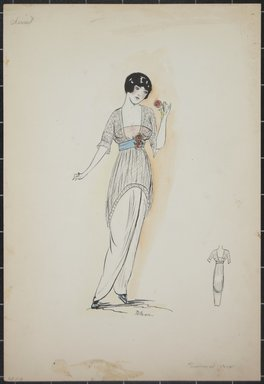"""<em>""""Day dress, Cheriut, Summer 1912. Long white dress; sheer net tunic with elbow length sleeves; light pink slip top; wide blue waist belt with 2 roses attached; back view included. (Bendel Collection, HB 001-03)""""</em>, 1912. Fashion sketch, 12.25 x 8.5 in (31.1 x 21.6 cm). Brooklyn Museum, Fashion sketches. (Photo: Brooklyn Museum, SC01.1_Bendel_Collection_HB_001-03_1912_PS5.jpg"""