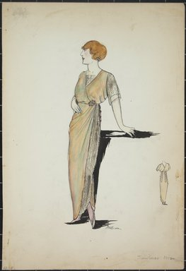 "<em>""Day dress, Callot, Summer 1912. Long green dress; net side panel and short sleeves; broach at waist; back view included. (Bendel Collection, HB 001-04)""</em>, 1912. Fashion sketch, 12.25 x 8.5 in (31.1 x 21.6 cm). Brooklyn Museum, Fashion sketches. (Photo: Brooklyn Museum, SC01.1_Bendel_Collection_HB_001-04_1912_PS5.jpg"