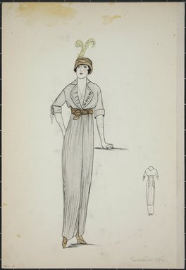 """<em>""""Day dress, summer 1912. Long light grey dress; elbow length sleeves with cuff; brown belt; brown hat wtih 2 feathers; long gloves; back view included. (Bendel Collection, HB 001-05)""""</em>, 1912. Fashion sketch, 12.25 x 8.5 in (31.1 x 21.6 cm). Brooklyn Museum, Fashion sketches. (Photo: Brooklyn Museum, SC01.1_Bendel_Collection_HB_001-05_1912_PS5.jpg"""