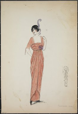 "<em>""Dress, Summer 1912. Long orange dress with elbow length sleeves; square cut neckline; flowers attached to waist; feathers in hair; back view included. (Bendel Collection, HB 001-06)""</em>, 1912. Fashion sketch, 12.25 x 8.5 in (31.1 x 21.6 cm). Brooklyn Museum, Fashion sketches. (Photo: Brooklyn Museum, SC01.1_Bendel_Collection_HB_001-06_1912_PS5.jpg"