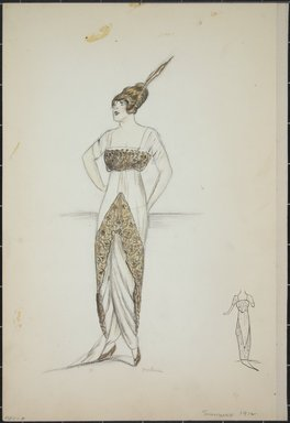 """<em>""""Evening dress, Summer 1912. Long white dress with train; wide gold decorative bands in front and on bodice; short sleeves; feather in hair; back view included. (Bendel Collection, HB 001-07)""""</em>, 1912. Fashion sketch, 12.25 x 8.5 in (31.1 x 21.6 cm). Brooklyn Museum, Fashion sketches. (Photo: Brooklyn Museum, SC01.1_Bendel_Collection_HB_001-07_1912_PS5.jpg"""