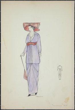 """<em>""""Day dress, Summer 1912. Long light purple dress and thigh length blouse; white blouse under pruple top; red belt with bow tied under bust; red wide brimmed hat; red parisol; back view included. (Bendel Collection, HB 001-09)""""</em>, 1912. Fashion sketch, 12.25 x 8.5 in (31.1 x 21.6 cm). Brooklyn Museum, Fashion sketches. (Photo: Brooklyn Museum, SC01.1_Bendel_Collection_HB_001-09_1912_PS5.jpg"""