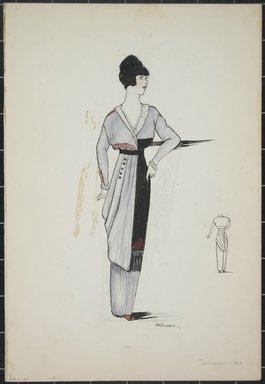 """<em>""""Day dress, Summer 1912. Long light grey dress with long sleeves; sleeves trimmed in white; deep v-neck trimmed in white; long black sash with fringe tied at waist; back view included. (Bendel Collection, HB_001-10)""""</em>, 1912. Fashion sketch, 12.25 x 8.5 in (31.1 x 21.6 cm). Brooklyn Museum, Fashion sketches. (Photo: Brooklyn Museum, SC01.1_Bendel_Collection_HB_001-10_1912_PS5.jpg"""