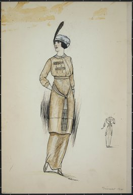 """<em>""""Daydress, Summer 1912. Long brown dress with knee-length blouse; 3/4 length brown sleeves; small flat white collar; long sash tied in front with fringe; hat with feather in front; back view included. (Bendel Collection, HB  001-11)""""</em>, 1912. Fashion sketch, 12.25 x 8.5 in (31.1 x 21.6 cm). Brooklyn Museum, Fashion sketches. (Photo: Brooklyn Museum, SC01.1_Bendel_Collection_HB_001-11_1912_PS5.jpg"""