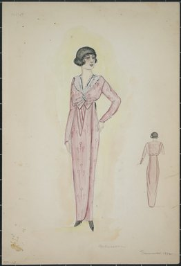 "<em>""Daydress, Callot, Summer 1912. Long red dress; long sleeves trimmed with buttons; attached white 'fichu' collar; dress tied at waist; dress fabric has an abstract design; back view included. (Bendel Collection, HB 001-12)""</em>, 1912. Fashion sketch, 12.25 x 8.5 in (31.1 x 21.6 cm). Brooklyn Museum, Fashion sketches. (Photo: Brooklyn Museum, SC01.1_Bendel_Collection_HB_001-12_1912_PS5.jpg"