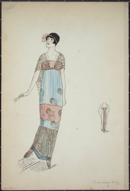 """<em>""""Evening dress, Callot, Summer 1912. Long sleeveless dress with wide horizontal bands of light blue and orange; sheer black train attached in front at bodice; geometric design on dress fabric; back view included. (Bendel Collection, HB 001-13)""""</em>, 1912. Fashion sketch, 12.25 x 8.5 in (31.1 x 21.6 cm). Brooklyn Museum, Fashion sketches. (Photo: Brooklyn Museum, SC01.1_Bendel_Collection_HB_001-13_1912_PS5.jpg"""