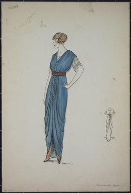 "<em>""Day dress, Callot, Summer 1912. Long blue dress; white short sleeved blouse; brown belt at waist; back view included. (Bendel Collection, HB 001-14)""</em>, 1912. Fashion sketch, 12.25 x 8.5 in (31.1 x 21.6 cm). Brooklyn Museum, Fashion sketches. (Photo: Brooklyn Museum, SC01.1_Bendel_Collection_HB_001-14_1912_PS5.jpg"