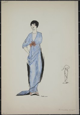 """<em>""""Day dress, Callot, Summer 1912. Long light blue dress; elbow length sleeves; brown flower bouquet at waist; dress fabric with small figured design in white; back view included. (Bendel Collection, HB 001-15)""""</em>, 1912. Fashion sketch, 12.25 x 8.5 in (31.1 x 21.6 cm). Brooklyn Museum, Fashion sketches. (Photo: Brooklyn Museum, SC01.1_Bendel_Collection_HB_001-15_1912_PS5.jpg"""