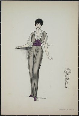 """<em>""""Day dress, Summer 1912. Long grey dress; white under blouse; maroon waist sash with large flower in center; back view included. (Bendel Collection, HB 001-16) mmer 1912.""""</em>, 1912. Fashion sketch, 12.25 x 8.5 in (31.1 x 21.6 cm). Brooklyn Museum, Fashion sketches. (Photo: Brooklyn Museum, SC01.1_Bendel_Collection_HB_001-16_1912_PS5.jpg"""