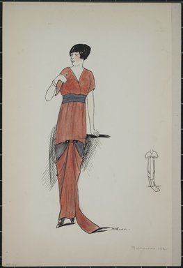 """<em>""""Day dress, Summer 1912. Long red dress with short sleeves and train; skirt gathered in front; grey waist band; back view included. (Bendel Collection, HB 001-17)""""</em>, 1912. Fashion sketch, 12.25 x 8.5 in (31.1 x 21.6 cm). Brooklyn Museum, Fashion sketches. (Photo: Brooklyn Museum, SC01.1_Bendel_Collection_HB_001-17_1912_PS5.jpg"""