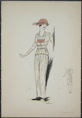 "<em>""Day dress, Summer 1912. Long light yellow dress; long sleeved jacket; sheer blouse with flat collar; pattern on dress and jacket; red hat with narrow brim and feather, back view included. (Bendel Collection, HB 001-18)""</em>, 1912. Fashion sketch, 12.25 x 8.5 in (31.1 x 21.6 cm). Brooklyn Museum, Fashion sketches. (Photo: Brooklyn Museum, SC01.1_Bendel_Collection_HB_001-18_1912_PS5.jpg"