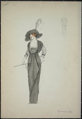 """<em>""""Dress, Callot, summer 1912. Long grey dress; bodice trimmed in white; white 3/4 length sleeves; matching grey hat with deep brim and feather; parisol; back view included. (Bendel  Collection, HB 001-20)""""</em>, 1912. Fashion sketch, 12.25 x 8.5 in (31.1 x 21.6 cm). Brooklyn Museum, Fashion sketches. (Photo: Brooklyn Museum, SC01.1_Bendel_Collection_HB_001-19_1912_PS5.jpg"""