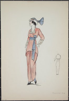 "<em>""Day dress, summer 1912. Long red dress; hip-length blouse in red with 3/4 sleeves; sheer white sleeves attached to edge of red sleeves; white collar; blue sash at waist tied in bow; white hat with turned up brim and blue crown; back view included. (Bendel Collection, HB 001-20)""</em>, 1912. Fashion sketch, 12.25 x 8.5 in (31.1 x 21.6 cm). Brooklyn Museum, Fashion sketches. (Photo: Brooklyn Museum, SC01.1_Bendel_Collection_HB_001-20_1912_PS5.jpg"