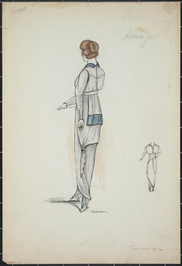 """<em>""""Day dress, Callot, Summer 1912. Long white dress; blouse with knee length back; long sleeves trimmed with row of buttons; back of blouse has row of buttons; small blue collar; front view included. (Bendel Collection, HB 001-21)""""</em>, 1912. Fashion sketch, 12.25 x 8.5 in (31.1 x 21.6 cm). Brooklyn Museum, Fashion sketches. (Photo: Brooklyn Museum, SC01.1_Bendel_Collection_HB_001-21_1912_PS5.jpg"""