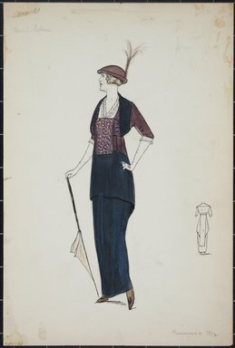 """<em>""""Day dress, Premet, 'Miss Salari', Summer 1912. Long black dress; long blouse in black and maroon with elbow length sleeves; front of blouse has a pattern in white, black and red on maroon ground; white trimmed v-neck blouse and edge of sleeves; maroon hat with small brim and feathers; parisol; back view included. (Bendel Collection, HB 001-22)""""</em>, 1912. Fashion sketch, 12.25 x 8.5 in (31.1 x 21.6 cm). Brooklyn Museum, Fashion sketches. (Photo: Brooklyn Museum, SC01.1_Bendel_Collection_HB_001-22_1912_PS5.jpg"""