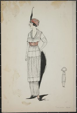 """<em>""""Day dress, Summer 1912. Long white dress; knee length white blouse with short sleeves; wide pink sash at waist; pink hat with black feather; long white gloves; back view included. (Bendel Collection, HB 001-23)""""</em>, 1912. Fashion sketch, 12.25 x 8.5 in (31.1 x 21.6 cm). Brooklyn Museum, Fashion sketches. (Photo: Brooklyn Museum, SC01.1_Bendel_Collection_HB_001-23_1912_PS5.jpg"""