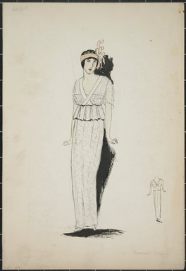 """<em>""""Dress, Callot, Summer 1912. Long white dress; hip length blouse with pleated peplum; short sleeves; orange headband with decoration on one side; back view included. (Bendel Collection, HB 001-24)""""</em>, 1912. Fashion sketch, 12.25 x 8.5 in (31.1 x 21.6 cm). Brooklyn Museum, Fashion sketches. (Photo: Brooklyn Museum, SC01.1_Bendel_Collection_HB_001-24_1912_PS5.jpg"""