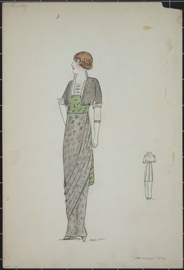 """<em>""""Day dress, Summer 1912. Long grey dress with draped skirt; short jacket in grey with elbow length sleeves; dress fabric with floral design; jacket with stand up white collar; wide green sash with pattern of orange dots; back view included. (Bendel Collection, HB 001-25)""""</em>, 1912. Fashion sketch, 12.25 x 8.5 in (31.1 x 21.6 cm). Brooklyn Museum, Fashion sketches. (Photo: Brooklyn Museum, SC01.1_Bendel_Collection_HB_001-25_1912_PS5.jpg"""